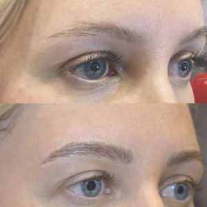 feathered eyebrow before and after