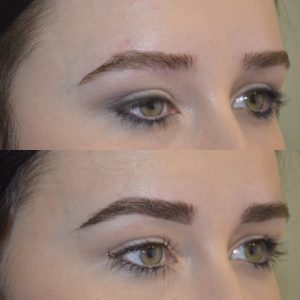 Powder eyebrow before and after