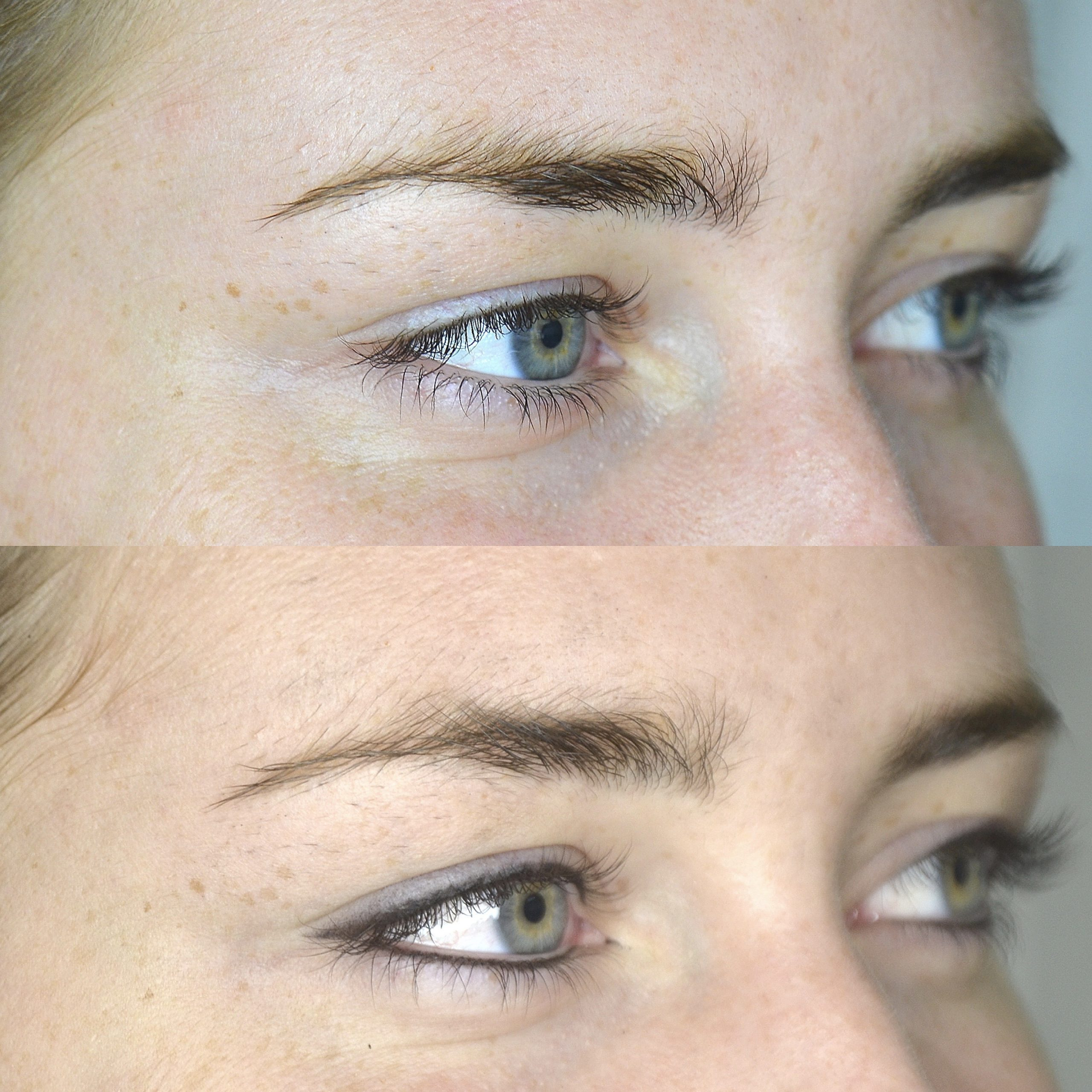 Shaded eyeliner before and after