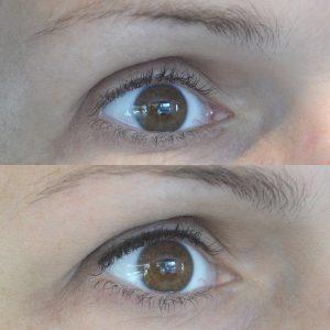 Lash-line eyeliner highlight before & after