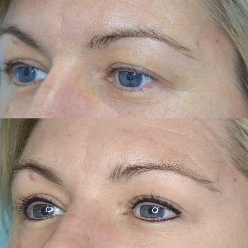 Standard eyeliner before and after